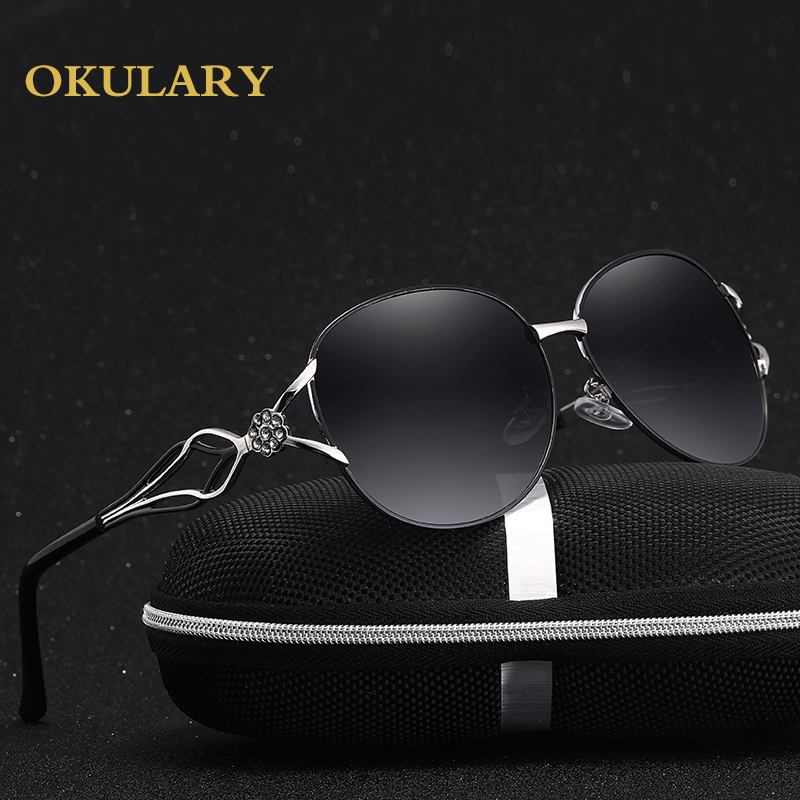 2018 Mirror Oval Women Sunglasses Black Purple Red Tea Color Metal Frame With Box Case
