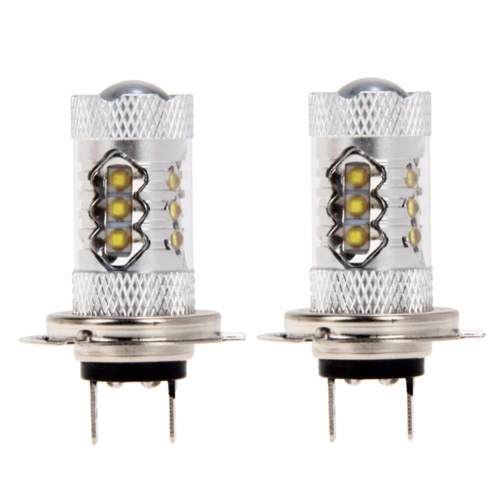 2Pcs Car Fog font b Lamp b font H7 80W LED Automobiles Light emitting Diode Headlight