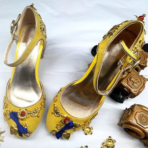 Mid-heeled sandals retro cupid ladies sandals metal phoenix beaded velvet round head national wind sandals banquet catwalk shoes Multan