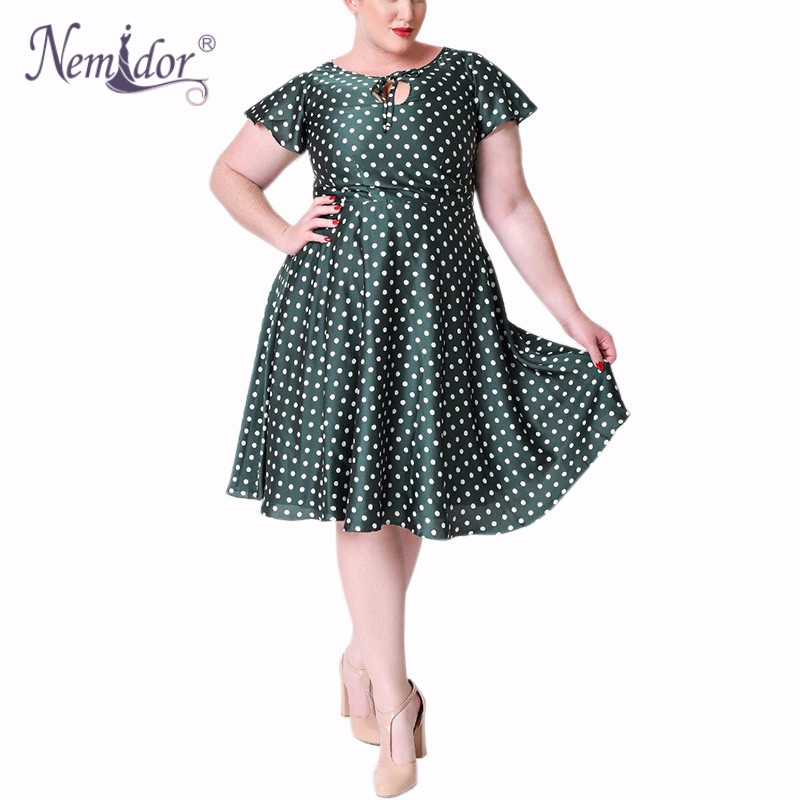 Unique_Vintage_Plus_Size_1940s_Style_Emerald_Ivory_Polka_Dot_Formosa_Swing_Dress_1