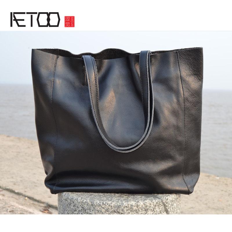AETOO HRetro handmade original large capacity first layer cowhide shopping bag handbag shoulder bag leather handbags