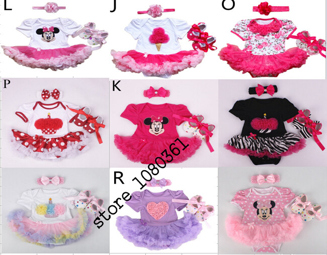 New Year  1set  Lovely flower Baby Girl Infant  Rompers,1set =romper+hairband+shoes,Tutu Romper Dress Bebe Party Birthday Kids baby girl infant 3pcs clothing sets tutu romper dress jumpersuit one or two yrs old bebe party birthday suit costumes vestidos