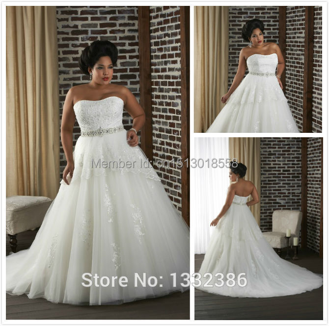 Classic Style Lace Covered Bodice Fat Bride Dress