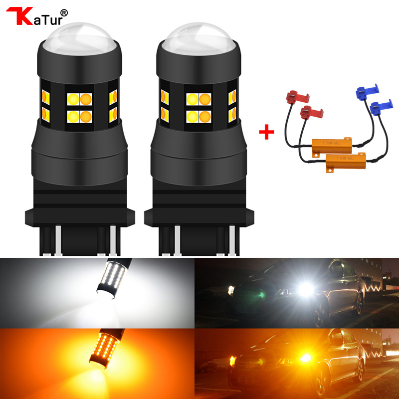 Katur 2x Canbus Error Free T25 3157 Switchback LED Dual Color Bulb Turn Signal Light Amber/Yellow White P27 Led 12V No OBC Error
