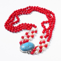 Free Shipping For Woman New Arrival Fashionable Multilayer Red Coral Round Bead Natural Pearl Necklace Jewelry 6mm Bead 3 Layer