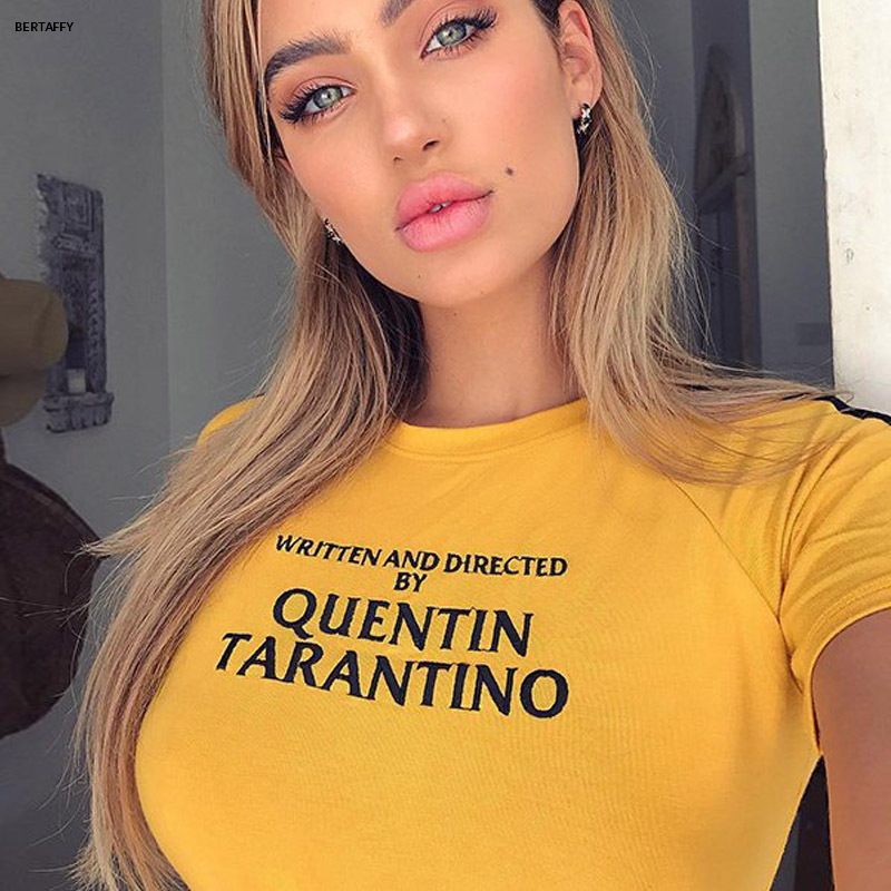 HTB1q546XK6sK1RjSsrbq6xbDXXad - Quentin Tarantino Short T-shirt Yellow Sexy Crop Tops Tumblr Women Grunge Stripe Long Sleeve Cotton Knitted Tees Art Fashion