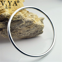 V YA 3 8mm Thick Solid 925 Sterling Silver Bangle For Women Classic Round Bangle Bracelet
