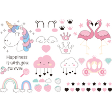 Cute Unicorn and Flamingos Wall Stickers