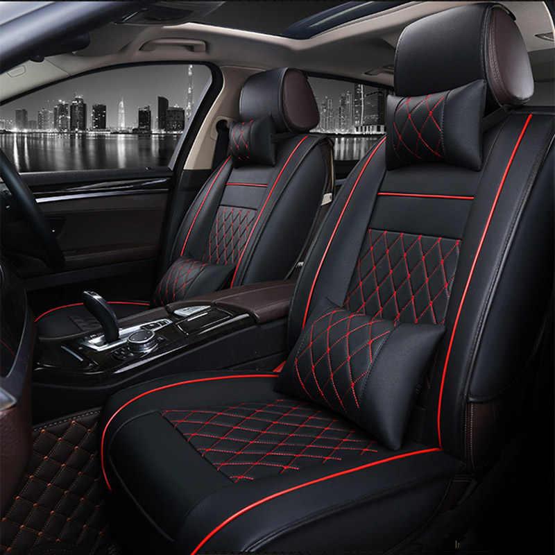 عالمية بو الجلود غطاء مقعد سيارة مقعد تغطية ل jac رين 13 s5 فو s5 اكسسوارات السيارات التصميم سيارة ملصقات السيارات 3d أسود/أحمر