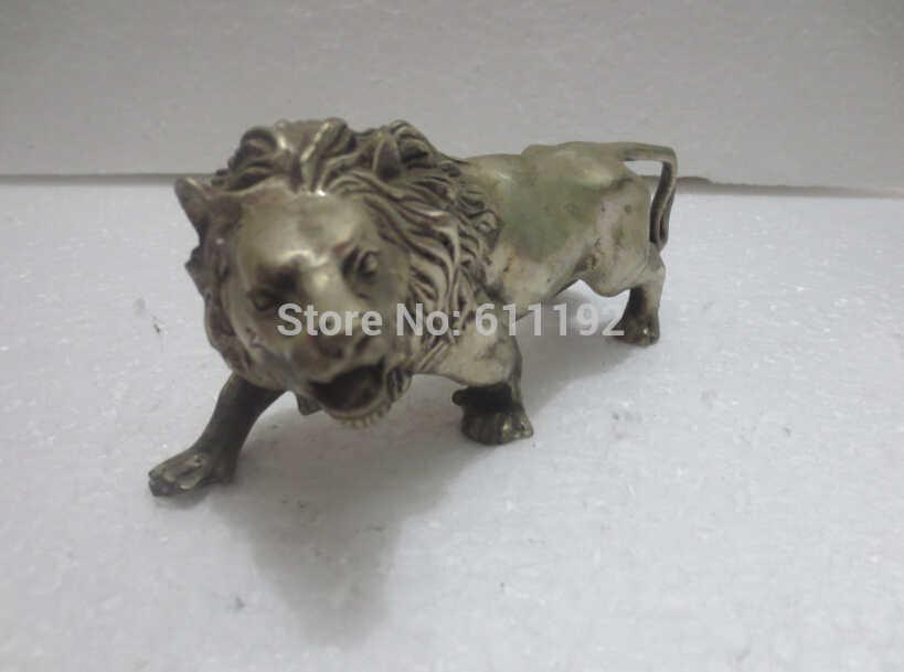 งานหัตถกรรมโลหะโบราณศิลปะการตกแต่งบ้าน,ทำด้วยมือทิเบตเงินสิงโตประติมากรรม,รูปปั้นสัตว์