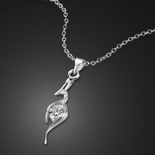 Sterling silver women necklace charm 5A zircon stone CZ pendant sexy short chain fashion exquisite solid silver jewelry gift