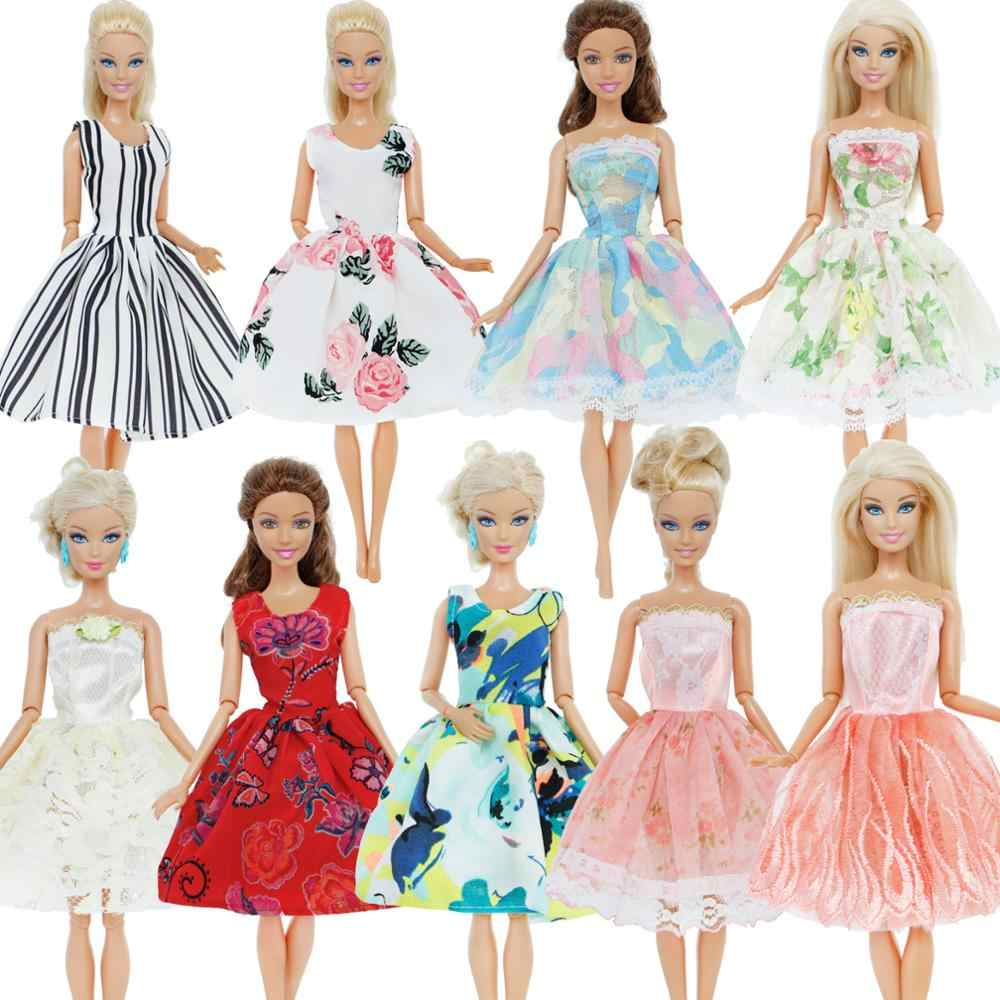Fashion Handmade Dress Wedding Party Gown Mixed Style Lace Flower Pattern  Skirt Accessories Clothes For Barbie 72838d719919