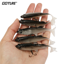 Goture 5pcs/lot Grey Soft Lure 8.5cm 13g Wobblers Artificial Bait Silicone Fishing Lures Sea Bass Carp Fishing Lead Fish Jig