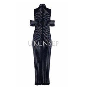 Image 2 - UKCNSEP 2020 Chic kobieta czarny biały bez rękawów wyszywany koralikami strój suknie wieczorowe w stylu gwiazd golfem Sexy powrót podział sukienki