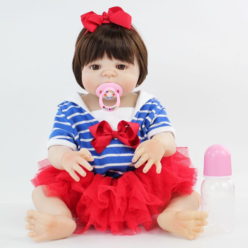 55 см полный силикона Reborn Baby Doll виниловые игрушки новорожденных принцесса для маленьких девочек Bonecas Bebe жив купаться игрушка Малыш Прекрасны...