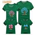 Padre y Madre y Niños Trajes de Dibujos Animados Ropa Nueva Familia Family Look Árbol de Amor de Dibujos Animados Camisas de Moda Familia Ropa A Juego
