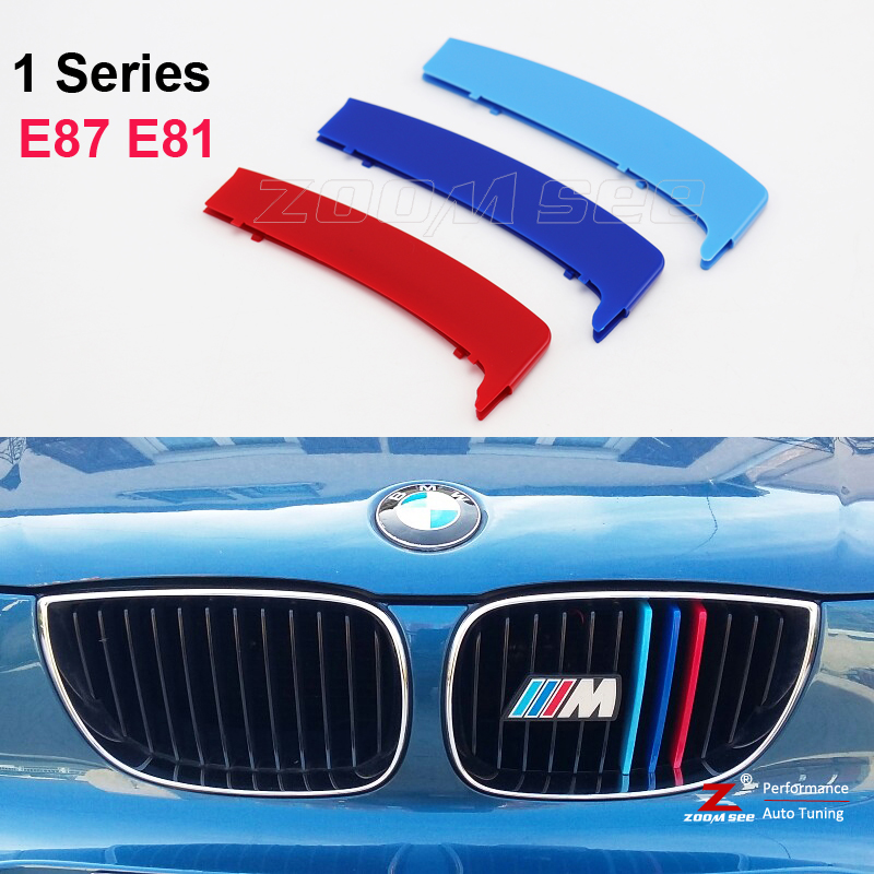 3D M Front Grille Trim Strips grill Cover motorsport Stickers For 2003-2011 BMW 1 series E87 E81 116 118 120 130