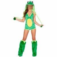 Abbille Short Styles Green Frog Costume Women Halloween Jumpsuits Fashion Animal Costume With Leg Warmer Costume