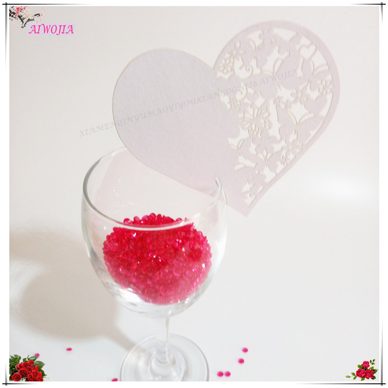 Bright 100 Pcs Paper Laser Cut Heart Table Place Escort Card Wine Glass Cards Cup Card Wedding Baby Shower Christmas Decorations 6z Home & Garden Cards & Invitations