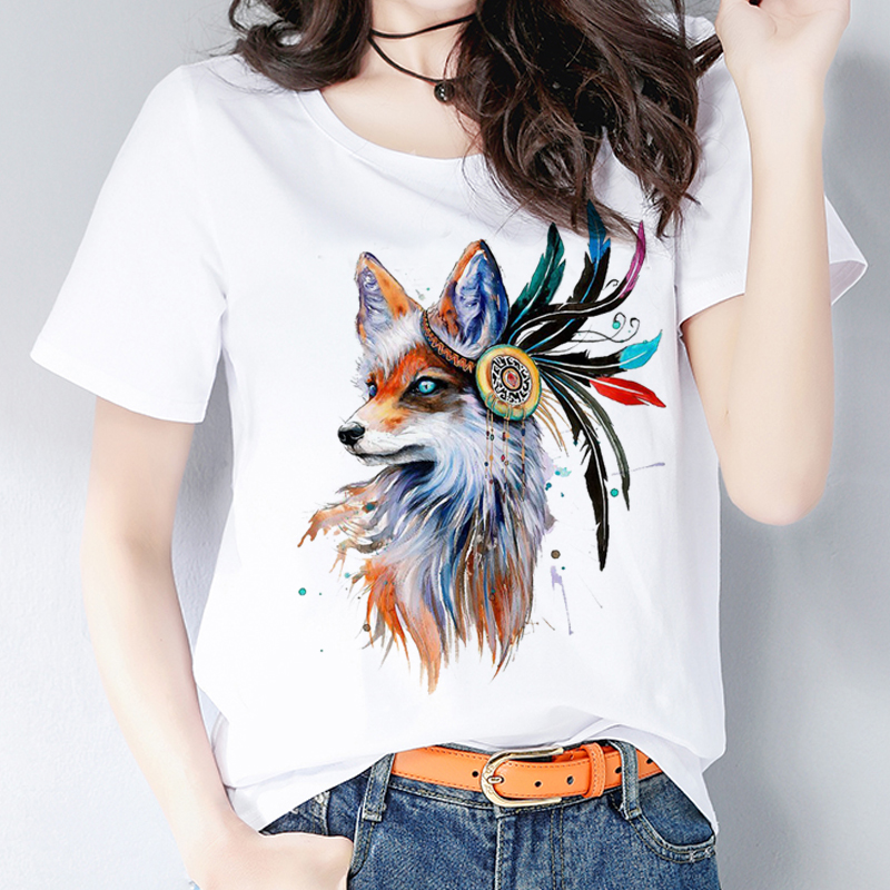 shopping look out for various design Fox Print Ladies Graphic Shirt Cute Fashion Tops ins 2019 Summer T ...