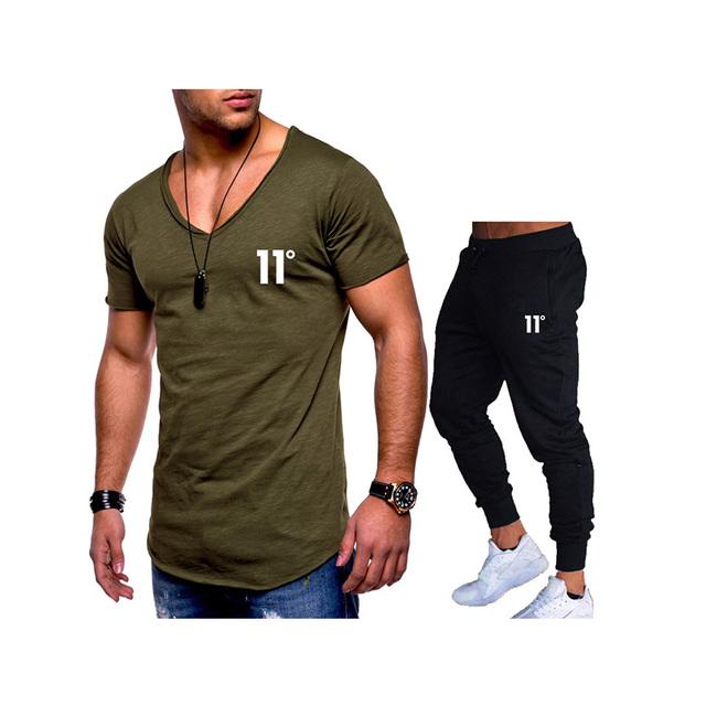 Men Summer Two Pieces Sets T-Shirts+Pants