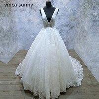 Surpreendente V neck Vestido de Noiva 2018 Vestido de Noiva Sem Encosto Rendas Espumante Caixilhos Uma Linha de vestido de Noiva Tamanho Personalizado Vestido