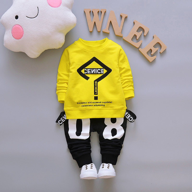 BibiCola Baby Boys Clothes Set 2018 Spring Autumn Newborn Baby Boy Clothing Set Long Sleeve T Shirt +Pant 2PCS Tracksuit Clothes купить в Москве 2019