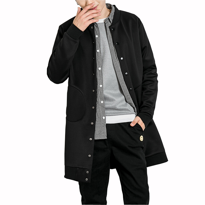 Men Trench coat 2017 New Fashion Men Casual Coat Long Slim Pocket Coats Autumn Slim Male Solid Outwear Plus Size M-XXL