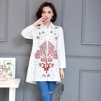 2017 Female Spring Lucky Tree Bird Embroidered Shirt Girl Loose Casual Turn Down Collar Long