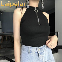 Zipper Turtleneck Solid Women Shirts Skinny Elastic Knitted Sleeveless Pullover Feminino Soft Femme Spring Jumper Vest Crop Top