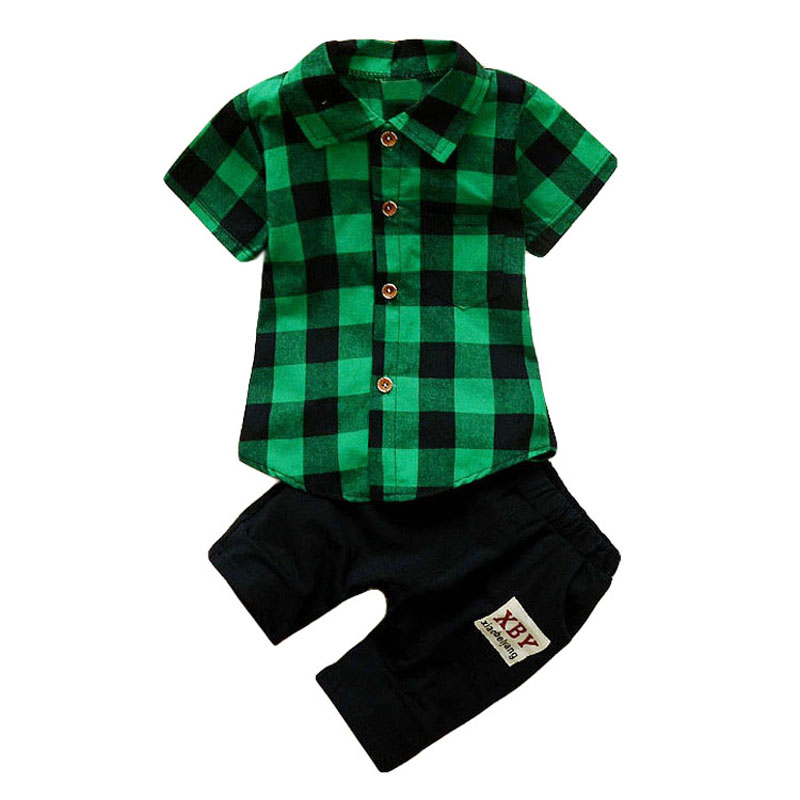BOTEZAI Toddler Boys Clothes Baby Boys Summer Clothing Sets Plaid Short Sleeve Tops+Pants Tracksuit Kids Casual Sport Suit Set fashion kids clothes baby boy clothes sets gentleman suit toddler boys clothing long sleeve children clothing
