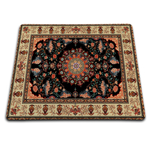 Black pattern Persian carpet Customized Rectangle Non-Slip Rubber printing Overlock Edge rubber durable mouse pad