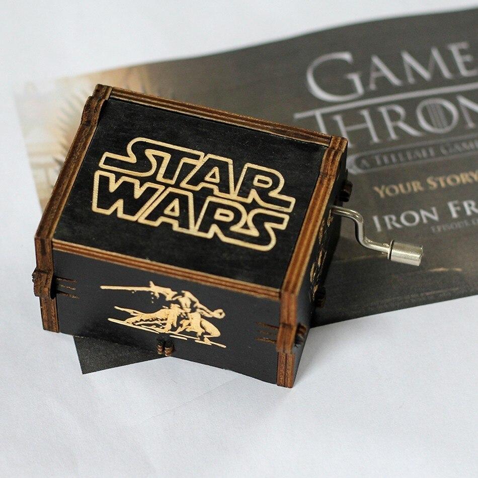 Лидер продаж деревянная ручка музыкальная шкатулка игра трон Пираты Кариб Звездные войны замок Inthe Sky Рождественский подарок - Цвет: STAR WARS