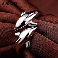BUDONG Real 925 Sterling Silver Ring For Women Fashion Double Dolphin Cute Love Ring Open Cuff
