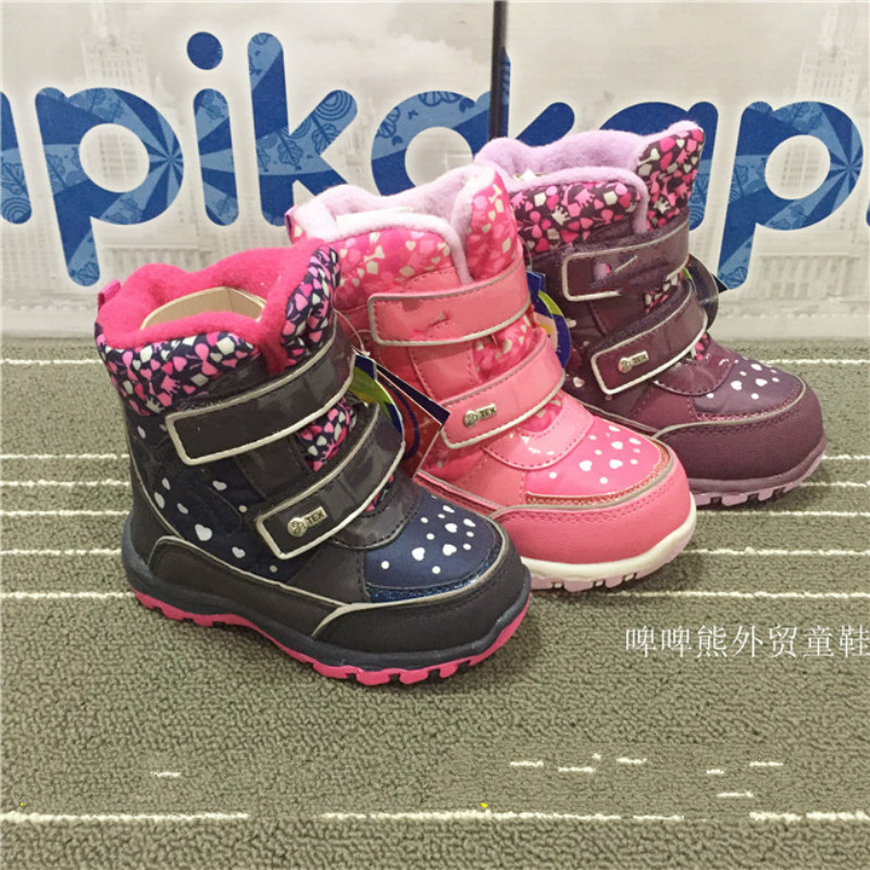 Short Boot Kid Casual Shoes Boys Girls Winter Boots Snow Printing Warm Botte  Black Purple Pink Children Snow Boots 22#-26#