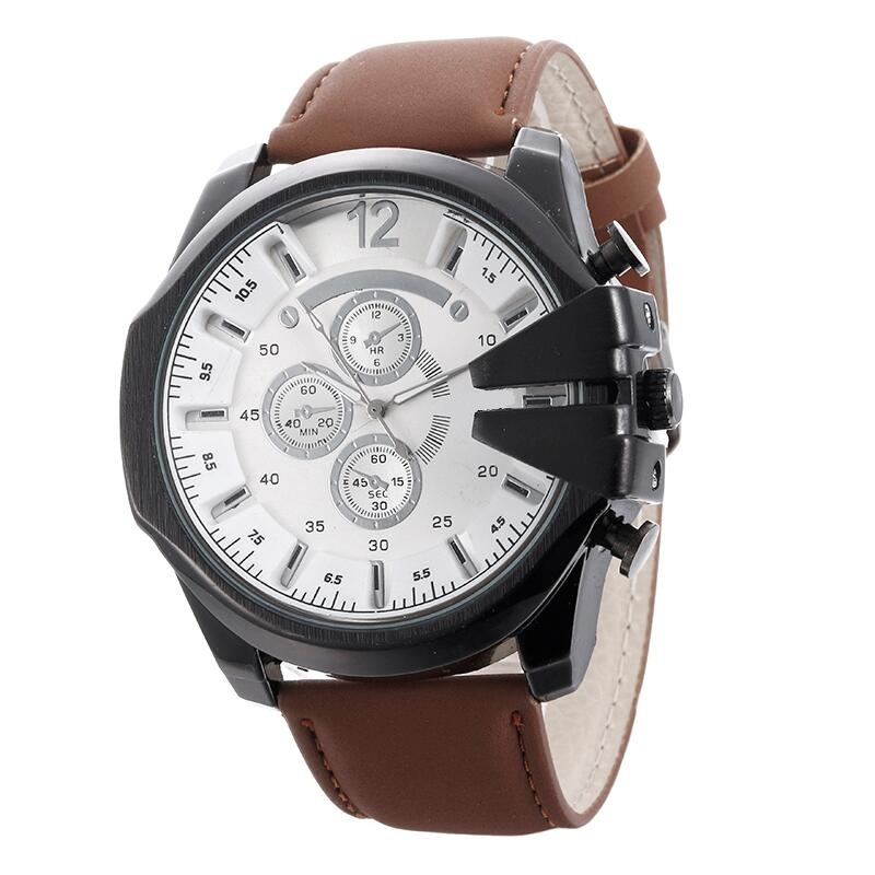 Fashion Men Sports Watches Leather Big Dial Military Quartz Watch Male Casual Dress Wristwatch Clock Relogio Masculino Hour binger nylon strap watch hot sale men watch unisex hour sports military quartz wristwatch de marca fashion female male relojes