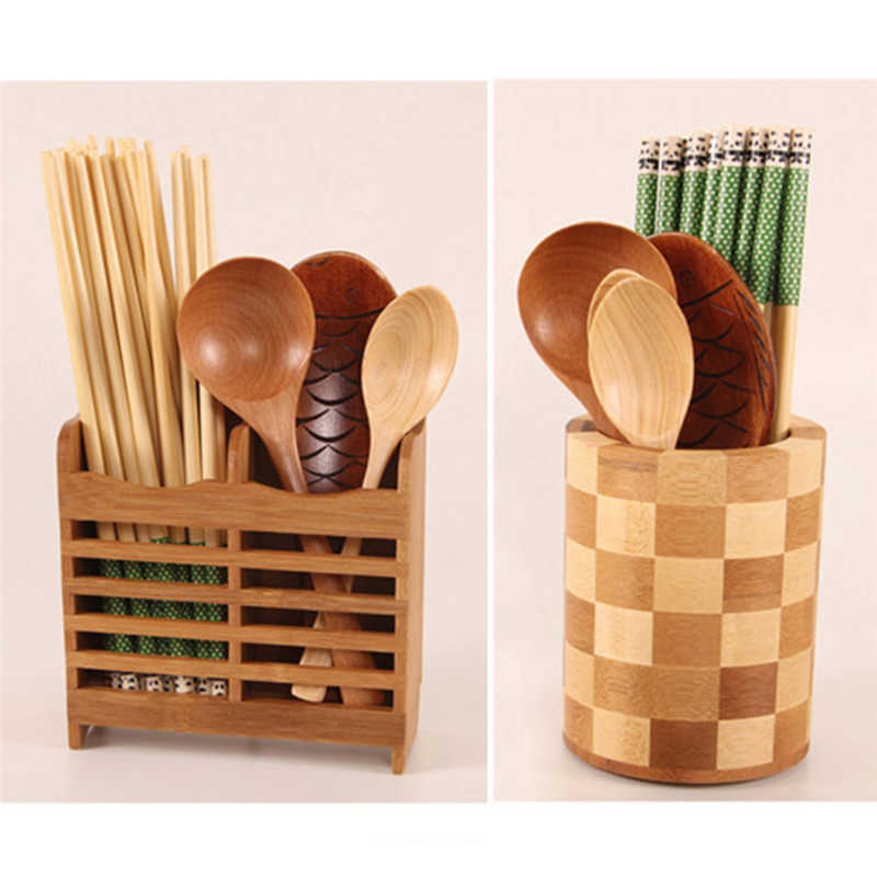 Image 4 - Creative High Quality Storage Rack Bamboo Chopsticks Cage Multi function Kitchen Cutlery Storage Rack Drain Rack Shower Shelf-in Racks & Holders from Home & Garden
