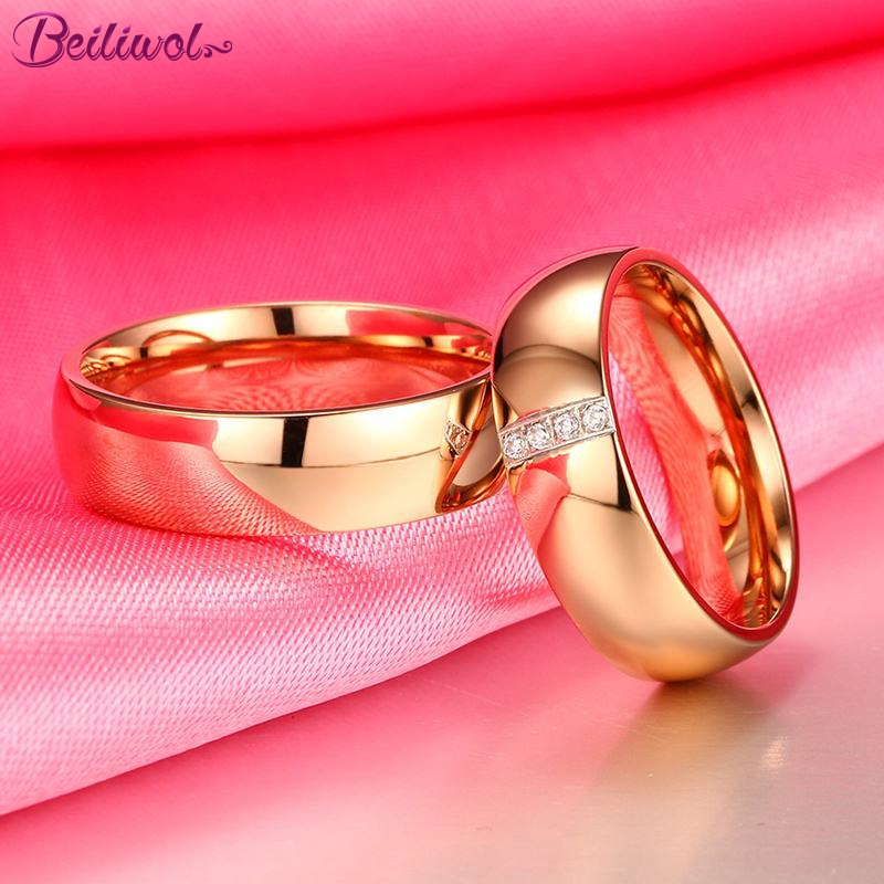 Beiliwol Wedding Rings for Women and Men AAA Zircon Simple Fashion Rose Gold Color Engagement Jewelry Couple Ring Lover's Gift