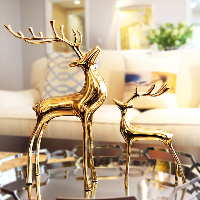 Moderne Creatif Cuivre Cerf Figurines Decor A La Maison Artisanat Chambre Decoration Bureau Ornement Etude Animal Statue Cadeaux