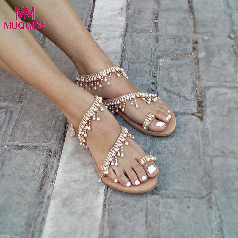 Aliexpress.com : Buy Fashion Shoes Women Beaded Sandals Summer Shoes Party Sexy Pearl Flat