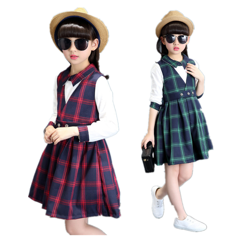 2017 spring autumn girls clothing set plaid 2pcs/set cotton girls school uniform teenage clothes sets suits for girls 2pcs set cotton girls clothing set 2018