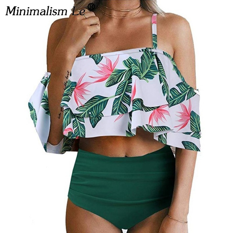 Minimalism Le Sexy High Waist Swimsuit Print Swimwear 2018 Halter Bikini Set Ruffle Shoulder Bathing Suit Women Solid Bikinis rabbit print ruffle hem pajama set