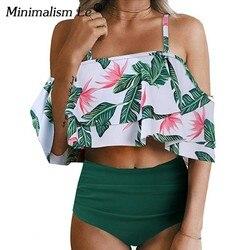 Minimalism Le Sexy High Waist Swimsuit Print Swimwear 2019 Halter Bikini Set Ruffle Shoulder Bathing Suit Women Solid Bikini Xxl