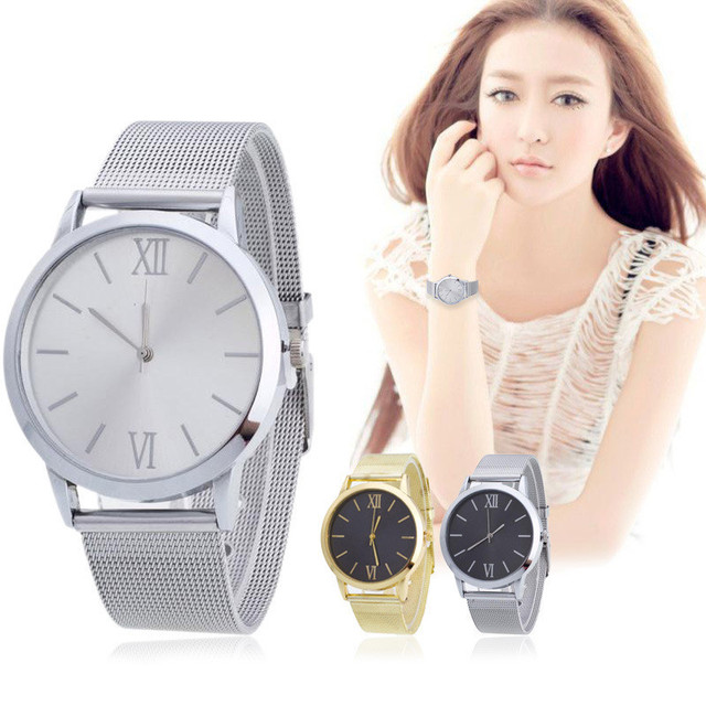 2018 women's watches Unisex Stainless Steel Mesh reloj mujer Wristwatches Ladies
