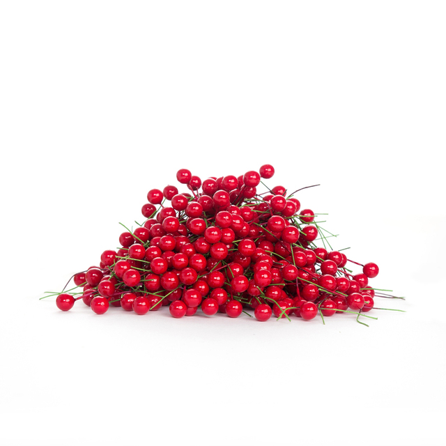 10 PCS Lot Artificial Flower Mini Plastic Fake Cherry Foam Red Berries Flores Fall Decorations For Home Wedding Gift Bags Decor