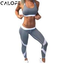 2a3e498619ef11 CALOFE Women Sports Pants Grey White Patchwork Slim Yoga Pants Quick Dry  Running Tights Fitness Sportswear Training Leggings