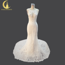 JIALINZEYI Real Picture Crew Neck High Lace Appliques Mermaid See Through Bridal Wedding Dresses Wedding Gown