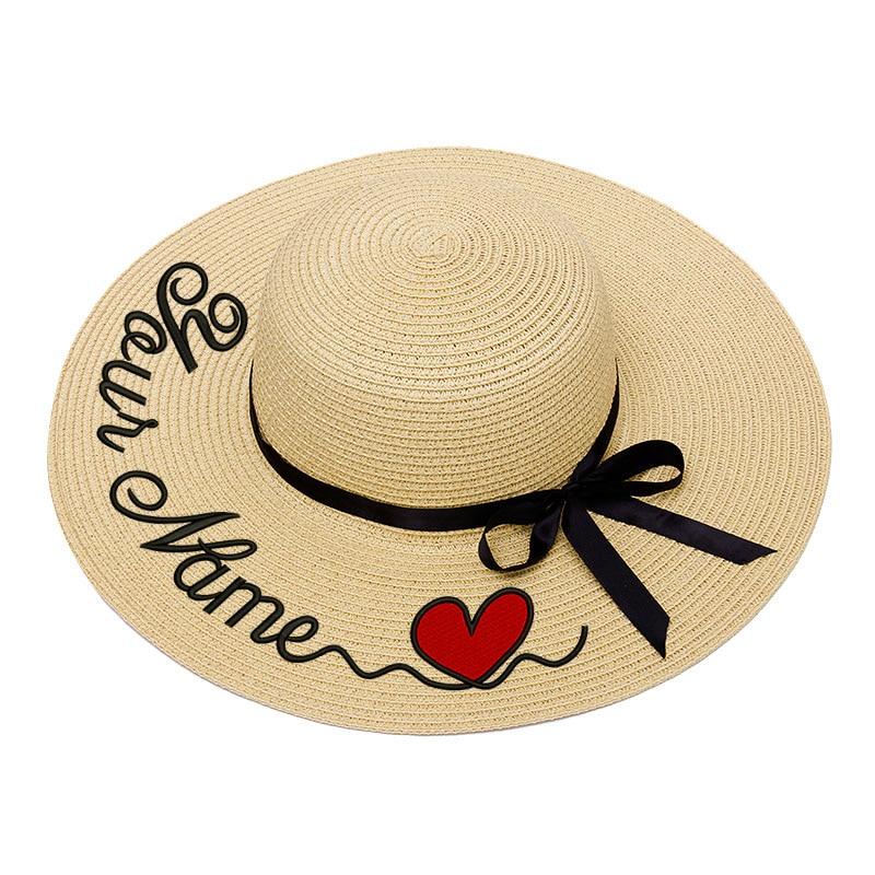 Stickerei Personalisierte Custom Text LOGO Stickerei Frauen Sonnenhut Großen Krempe Stroh Hut Im Freien Strand hut Sommer Kappe Dropshippin