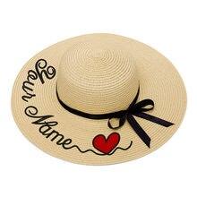 Sombrero de paja con texto personalizado para mujer, bordado con logotipo personalizado, ala grande, para exteriores, playa, Verano