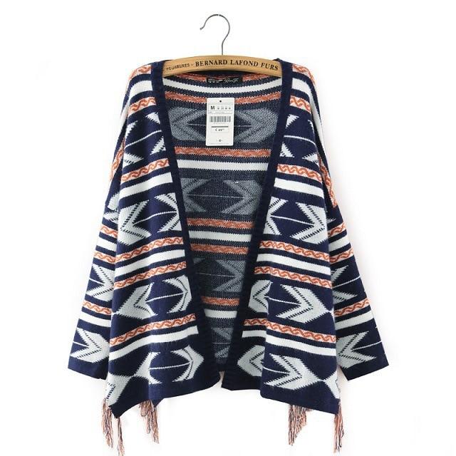 Nuevo 2015 mujeres chal de ganchillo suéter de invierno de punto ...